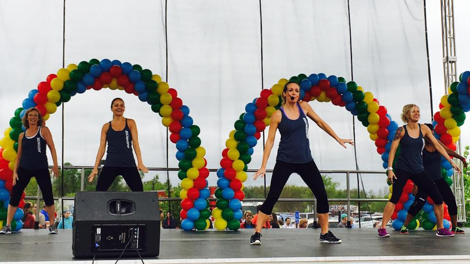 Jazzercise on our mobile stage at the Northwest Arkansas Heart Walk